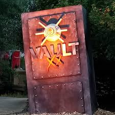 entrance to the vault haunted house at busch gardens