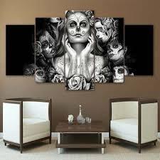 multi panel print calavera girls canvas