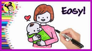 วาดรูป วันแม่ น่ารักๆ ง่ายๆ | แม่กอดลูกน้อย | วันแม่แห่งชาติ | How To Draw  Mothers Day - YouTube