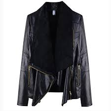 black faux leather jackets women winter