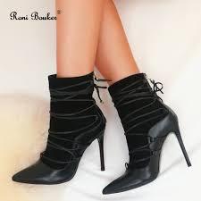 Designer Black Booties Roni Bouker Fashion Designer Shoes Women Genuine Leather