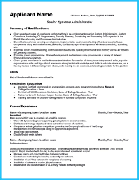unix sys administration sample resume