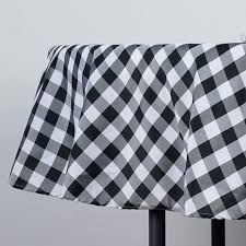 checd gingham polyester picnic round tablecloth white black tablecloths and napkins perfect inspired