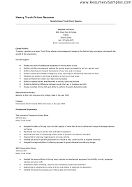Sample Resume For Truck Driver - Template