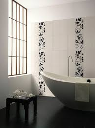 bathroom large bathroom space with contemporary big freestanding bathtub plus delectable wall tiles using fl