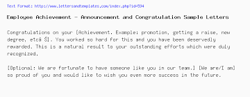 Employee Achievement Announcement And Congratulation Sample