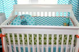 turquoise chevron nursery bedding orange crib 1 bright and modern gray solid