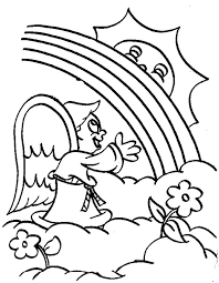 Small Picture A Little Angel Cheering the Rainbow Over the Cloud Coloring Page