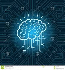Brain Digital Form Icon Over Blue Circuit Background Stock Vector