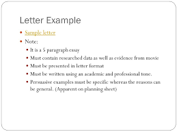 "i am sam"" persuasive letter ppt video online  letter example sample letter note it is a 5 paragraph essay"