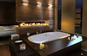 this bathtub with built in fireplace from pearl gives great inspiration to decor a romantic bathroom this bathroom design featuring a stunning drop in