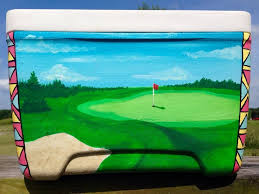 painted cooler with a pretty green golf course perfect for golfers