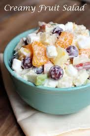 creamy fruit salad recipe. Wonderful Recipe A Blue Bowl Sitting On A Napkin And Filled With Grapes Mandarin Oranges  Apples Throughout Creamy Fruit Salad Recipe Tastes Better From Scratch
