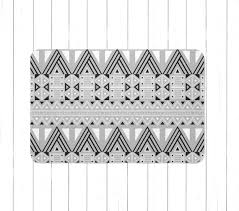 black gray and white tribal aztec area rug or bath mat