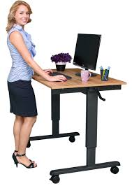 crank adjule standing desk with stationaries and ikea office chair for home office ideas