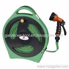 15m flat garden hose with plastic reel