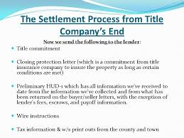 The Settlement Process from Title pany's End