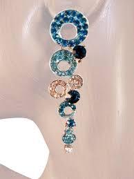 shimmer 2 75 inch crystal chandelier drop earrings teal blue silver