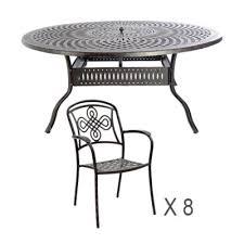 8 seat round metal dining sets rust