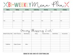 Bi Weekly Meal Planner Template Bi Weekly Menu Planner Home Menu Planners Menu Planning Menu