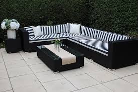 l shaped furniture. Gartemoebe Modular Outdoor Wicker Furniture -L Shaped Black With And White Striped Cushions L