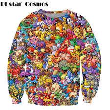 <b>PLstar Cosmos Harajuku style</b> Sweatshirt Cartoon Pokemon print ...