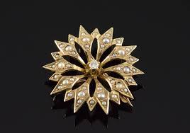 10k 1 5mm seed pearl diamond star burst victorian yellow gold pendant pin