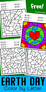 Make your world more colorful with printable coloring pages from crayola. Earth Day Color By Letter Totschooling Toddler Preschool Kindergarten Educational Printables