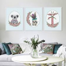 2018 3 panel modern kawaii rural fl cottage bedroom drawing hipster wall art animals flower poster prints canvas painting gifts from shengzhenming