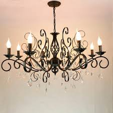 vintage crystal drop chandelier 8 light led pendant lamp lighting fixtures black
