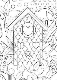 Kleurplaat Vogelhuisje Bos Hart Coloring Bird House Heart Design