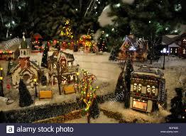 Miniature Village Street Lights Miniature Christmas Village Toy Houses Decorations Stock