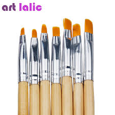 7 sizes wood uv gel nail brush painting pen wood handle round drawing nail art brush