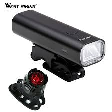 WEST BIKING USB Rechargeable <b>Bicycle Headlight Taillight</b> Set ...