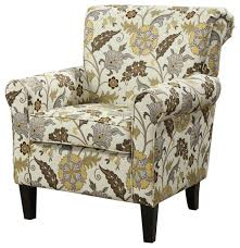 retro styled fl accent chair with decorative rolled arms