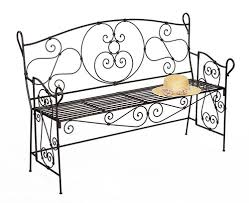 Red Wrought Iron Bench Outside On A Garden Patio Stock Photo Outdoor Wrought Iron Bench