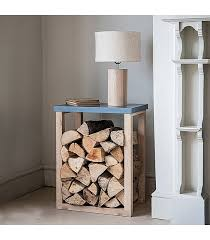 modern style side table with log storage space underneath