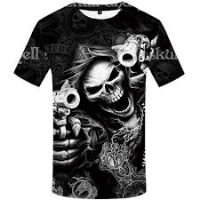 <b>KYKU Skull T Shirt</b> Men Skeleton T-shirt 3d T Shirts Gothic Printed ...