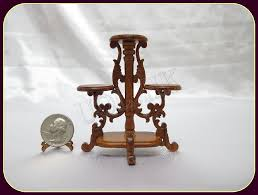 1 12 scale doll house walnut carved plant stand