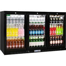 rhino commercial 3 door glass bar fridge