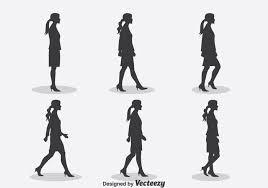 女性のシルエット歩行サイクルイラストイラスト 素材素材無料
