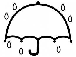広げた傘の白黒フレーム飾り枠イラスト 無料イラスト かわいいフリー
