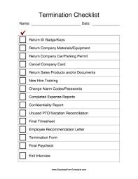 employee termination form template termination checklist template