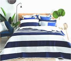 blue and white bedspread. Beautiful White Image Is Loading QuiltedModernStripeNavyBlueWhiteBedspreadQuilt And Blue White Bedspread L