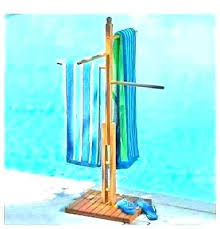 outdoor towel holder pool rack eucalyptus poolside bar pipe hanging ideas outdoor towel holder