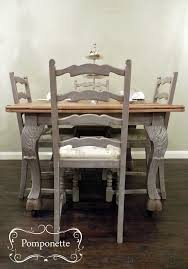 painted wood dining room chairs. bistro dining table 4 re-upholstered chairs. nice legs! @anniesloanhome coco # painted wood room chairs i