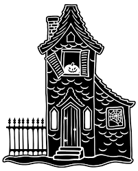 halloween black white house print drawing