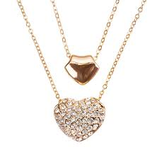details about double puffed heart pendant necklace rose gold plated 16 double chain h52 3