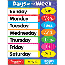 Learning Chart Days Of The Week Stars Learning Chart