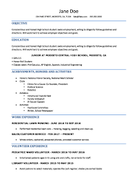 Resume Templates For Highschool Students No Experience Examples High